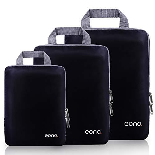 Amazon Brand - Eono Organizadores de Viaje de compresión expandibles, Impermeable Organizador de Maleta, Cubos de Embalaje, Compression Packing Cubes - Negro, 3-Set