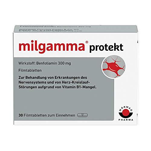 milgamma protekt (Film) tabletten bei einer auf einem Vitamin-B1-Mangel beruhenden Neuropathie. Geeignet für Diabetiker. Mit Benfotiamin, 30 Stück