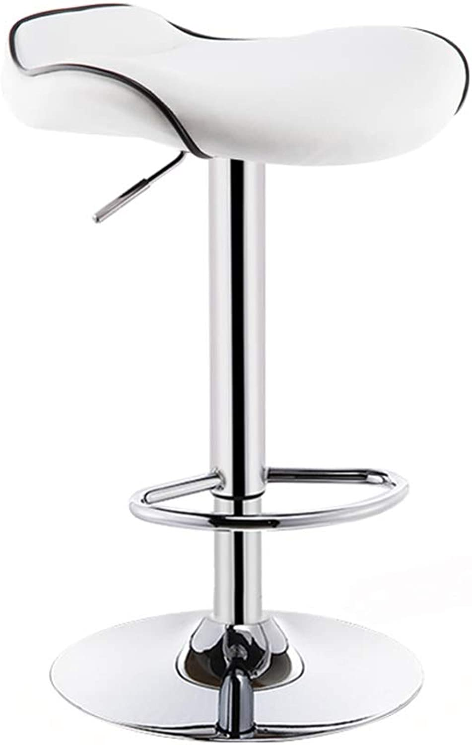 Bar stools Artificial Leather redatable Adjustable Height Chrome Metal Fittings bar Stool (color   White, Size   62-82cm)