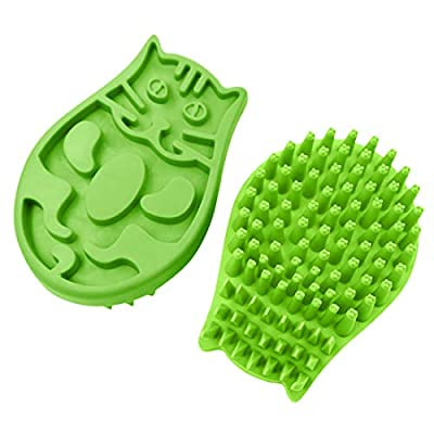 JOYPAWS Pet Bath Brush / Massage Brush, Pet Grooming Comb for Shampooing and Massaging Dogs, Cats, Small Animals with Short or Long Hair - Soft Rubber Bristles Gently Removes Loose & Shed Fur, Green from KUDI