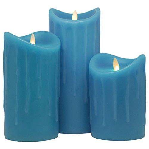 Tronje LED Echtwachskerzen Blau 3er Set 14/18/23cm LED Kerzen D:9cm mit Timer bewegliche Flamme 800 Std. Leuchtdauer