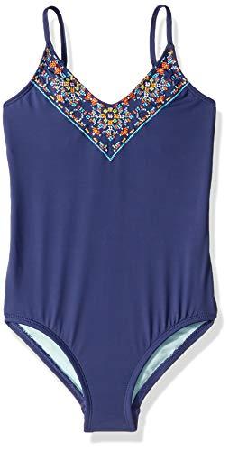 Hobie Girls' Big V-Neck One Piece Swimsuit, Navy//Cross Stitch/Stones, 12