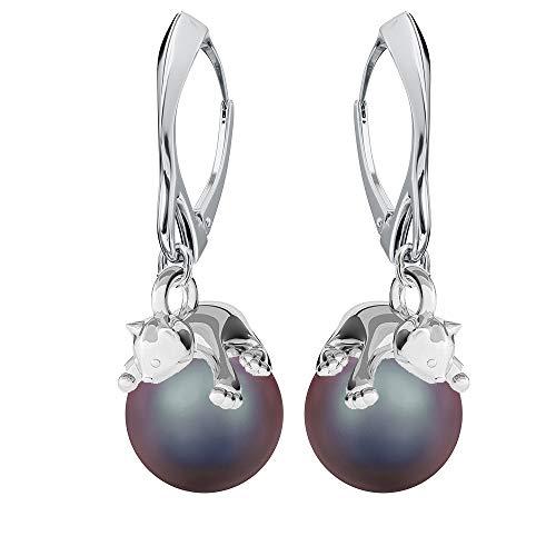 **Beforya Paris** – Gattino – Orecchini – molti colori !! – Orecchini da donna in argento 925 con perle Swarovski – Meravigliosi orecchini con confezione regalo PIN/75 e Argento, colore: rosso, cod. 7