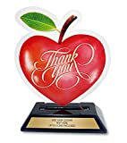 Customized Trophy for Teachers - Personalized Appreciation Award - Acrylic Apple 7 inches Tall