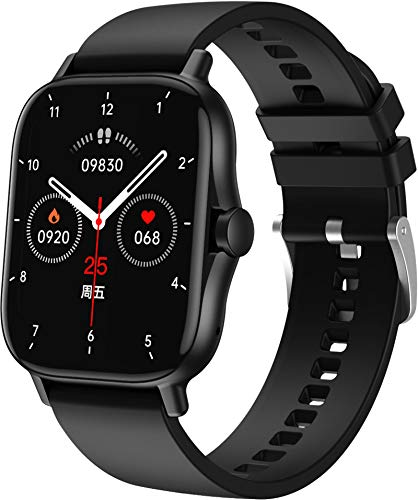 Smartwatch Bluetooth Telefonie Groß Voll Touchscreen Bildschirm Fitness Armband Herren Damen Kompatibel Android Kalorienzähler Schlafminitor Blutdruck Schwarz