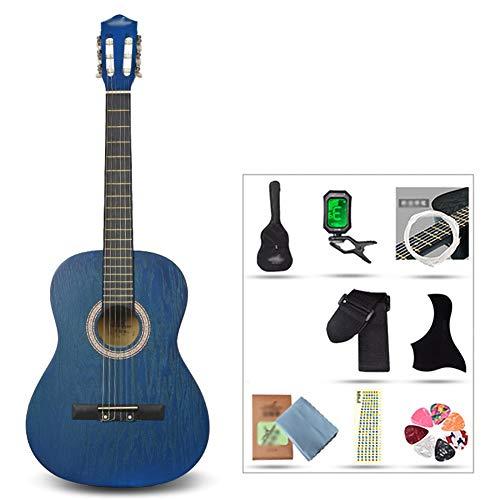 YJFENG 39 '' Konzertgitarre Smooth Wire String Niedriger Saitenabstand Leicht zu Spielen mit elektronischem Stimmgerät Cutaway Guitar Girl (Color : Light Blue, Size : 99.1cm)