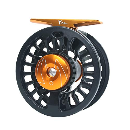 M MAXIMUMCATCH Maxcatch Tail Fly Fishing Reel Light Weight Large Arbor Teflon Disc with CNC-machined Aluminum Alloy Body 5/6 7/8wt (Black Reel, 5/6wt)