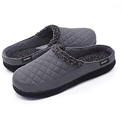 Zigzagger Mens Suede Fabric Memory Foam Slippers Fleece Lined Slip On Clog House Shoes Indoor/Outdoor,Grey,11-12 D(M) US
