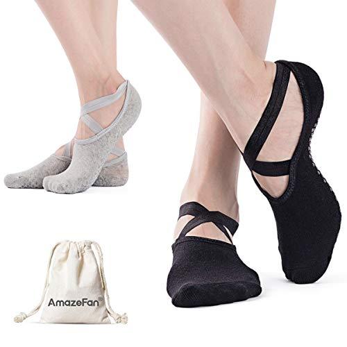 AmazeFan Calcetines de Yoga Antideslizantes para Mujeres, Ideales para Pilates al Aire Libre Medias de Entrenamiento Deportivo con Granos Antideslizantes Negro y Gris 2 Pares
