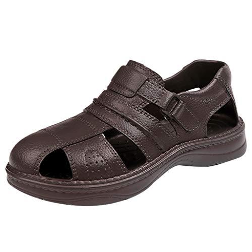 Sandalias Cuero Deportivas para Hombre Verano Exterior con Punta Abierta Sandalias de Playa Antideslizantes Zapatillas de Montaña Senderismo Zapatos Impermeables 40-45 riou