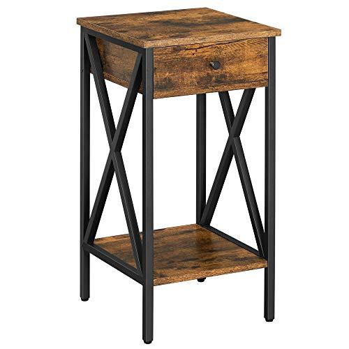 VASAGLE Nachttisch, Beistelltisch, hoch, mit Schublade und Ablage, Industriestil, vintagebraun-schwarz LET501B01