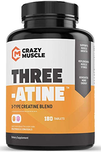 Creatine Pills - Keto Friendly Muscle Builder - 180 Tablets (138% + More Than Capsules) - Over 5 Grams of Creatine Monohydrate, Pyruvate + AKG - Optimum Strength Bodybuilding Supplements (2 Months)