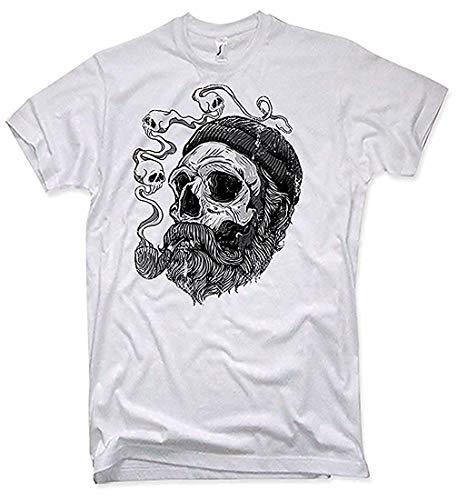 NG articlezz Sailor Barba Camiseta Hombre Capitán Barba Pirate Calavera Capitán - Blanco/White, XL