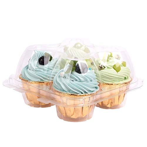 30Packs 4 Cavity Cupcake Containers, Cupcake Boxes Four Compartment Cupcake Carrier | Cup Cake Transport Packaging Clear Plastic Disposable Cake Box Storage Party Supplies