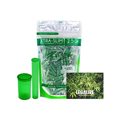 PURIZE 250 Stück Xtra Slim Size 6mm (5,9mm) Aktivkohlefilter mit 2 Keramikkappen inkl. Joint Tube, PopUp Döschen und Sticker - Farbe wählbar (Grün)