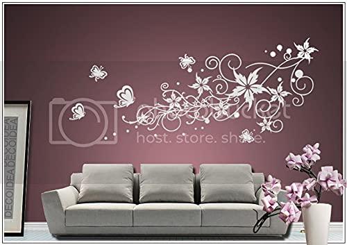 wall tattoo adesivi murali adesivo muro tatuaggio Soggiorno Camera da letto per bambini Kids room CUCINA 30 colori per la selezione del fiore della vite farfalla farfalle cuore wpf40(010 bianco, size3:ca.180x85cm)