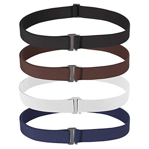Elastic No Show Belt for Women for Jeans Ladies Adjustable invisible Belt Flat Buckle Stretch Casual Skinny Belt No Bulge Web Waist Belt for Dress for Pants,Black+Coffee+Blue+White,Suit USA Size 0-16