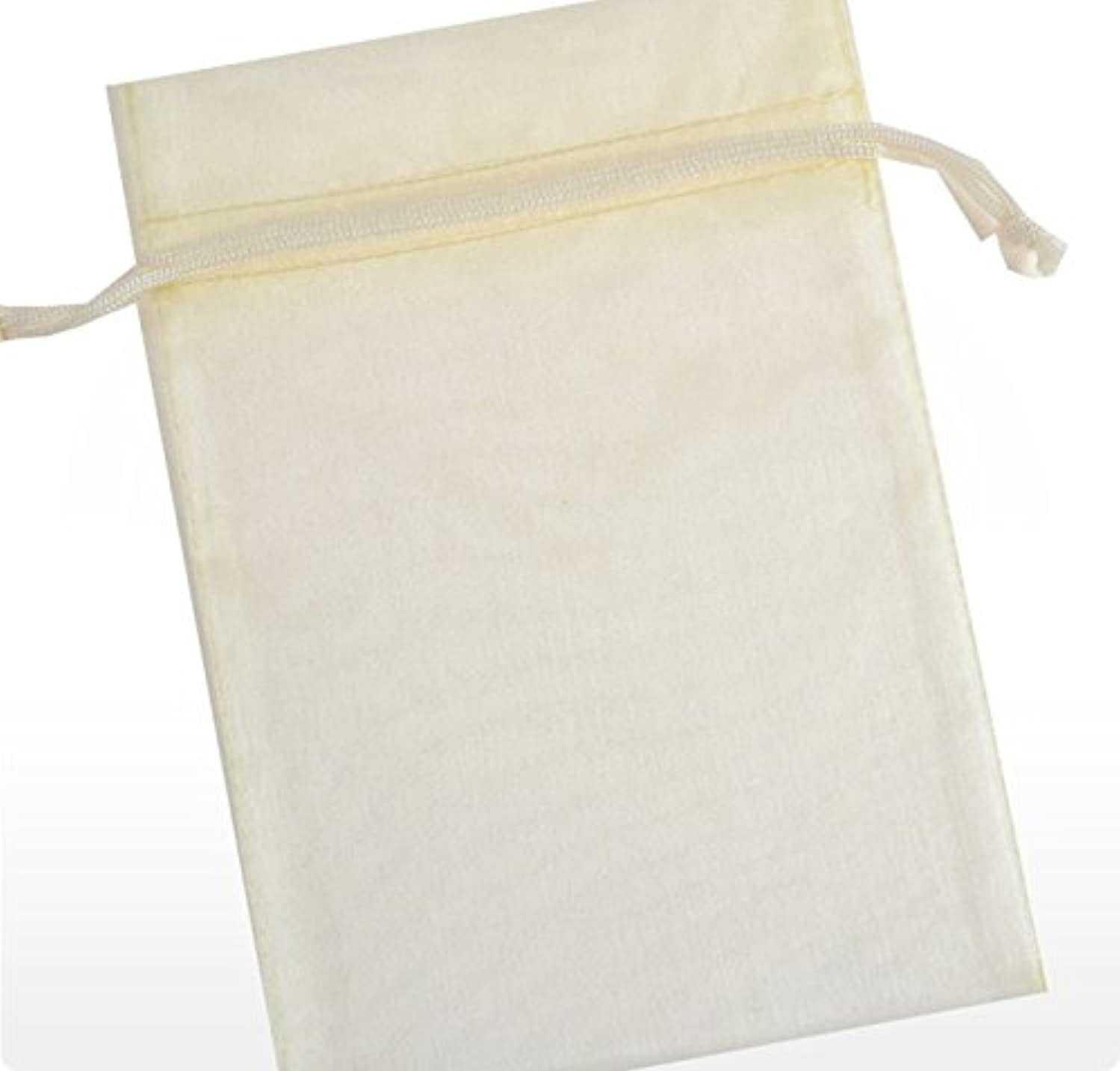 60 Pcs Sheer Organza Drawstring Pouches Gift Bags Ivory Color 6x9 Inches
