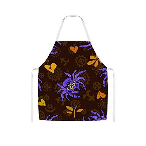 Doinh Halloween Schnittmuster mit lila Giganticwoolen Stoffschürze für Damen und Herren beim Kochen, Grillen und Backen