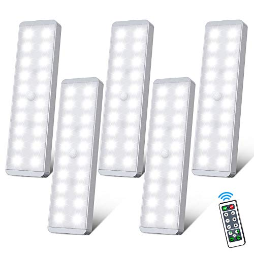 LED Closet Light with Remote, 20 LED Rechargeable Wireless Under Cabinet Lights, Magnetic LED Motion Sensor Night Light for Bedroom Counter Hallway Wardrobe Stairs (5 Packs)