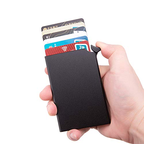QUWN-Slim Design Automatische Pop-Up Card Case RFID Blocking Portemonnee voor Mannen Aluminium Case Credit Card Houder Een Volledige Portemonnee