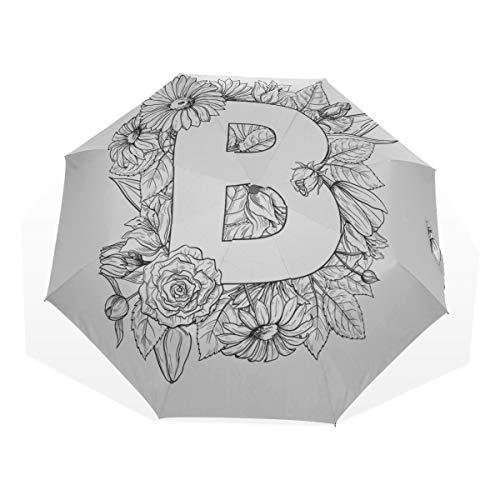 Regenschirme Sonnenbuchstabe B Ungewöhnlich niedlich Lustig Modellieren 3-Fach Kunst Regenschirme (Außendruck Sonnenschirm Regenschirm Outdoor Boy Regenschirme Für Regen Herren Reiseschirm Winddich
