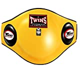 Twins Belly Protector Pads Guard BEPL-2 Yellow Thai Kickboxing MMA K1 Genuine Leather (XLarge)