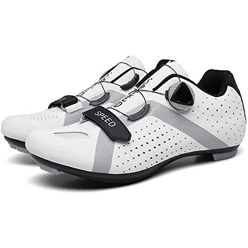 KUXUAN Zapatos De Ciclismo para Hombres,Zapatos De Bicicleta para Deportes Al Aire Libre Zapatos De Bicicleta De Carretera De Carreras Profesionales con Autobloqueo,White-45EU