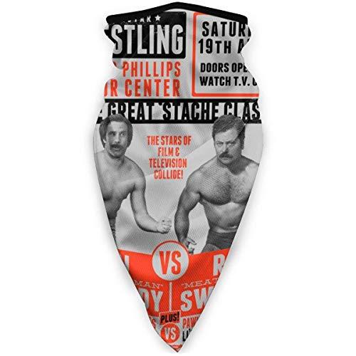 Yuanmeiju Schal Superstar Wrestling Ron Swanson Vs Ron Burgundy Anchorman Parks and Rec Gesicht Bandanas for Dust,Outdoors,Festivals,Sports
