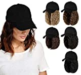 AynnQueen Baseball Cap with Hair Extensions for Women Adjustable Hat with Synthetic Wig Attached 8inch Kinky Curly Hair Black Baseball Cap (Light Chestnut Brown)