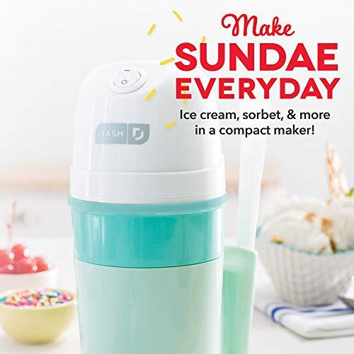 Dash My Pint Electric Ice Cream Maker Machine for Gelato, Sorbet + Frozen Yogurt with Mixing Spoon & Recipe Book (Organic, Sugar Free, Flavored Healthy Snacks + Dessert for Kids & Adults) 0.4qt - Aqua