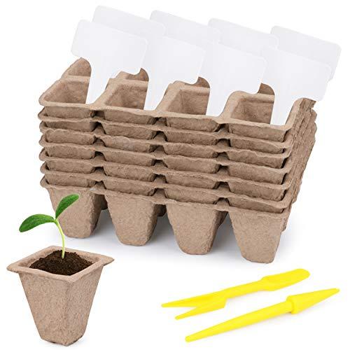 Idefair 12 macetas de turba para plantas de semillero,144 celdas rejillas de kit de inicio de plantas orgánicas,bandejas de semillas biodegradables con etiquetas de plantas y herramienta de ex