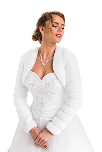 Bolero Hochzeit Jacke Pelerine für die Braut Pelzstola langer Ärmel volles Futter, Weiß, Gr. 44