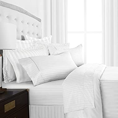 Beckham Hotel Collection Luxury Soft Brushed Microfiber 4-Piece Striped Sheet Set - Hypoallergenic & Stain Resistant with Embossed Stripes -King - White