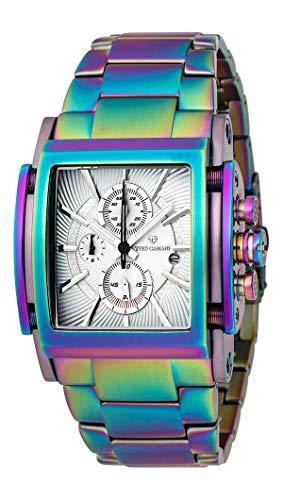 YVES CAMANI ESCAUT Herren-Armbanduhr Chronograph Analog Quarz Edelstahl-Gehäuse Edelstahlband (Edelstahl - Rainbow)