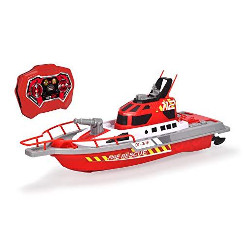 Dickie Toys 201107000 Feuerwehrboot, ferngesteuertes Boot mit Funksteuerung, Feuerwehr, Wasserspritzfunktion, 3 Kanäle, 27 MHz, USB-Aufladung, Geschwindigkeit max 3 km/h, für Kinder ab 6 Jahren