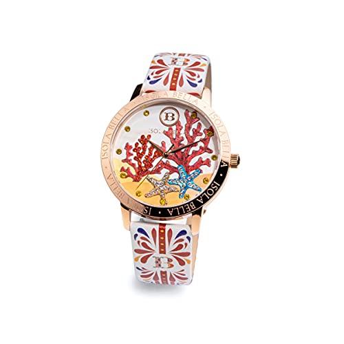 Reloj Isla Bella Coral de acero, piel y circonitas 40000037