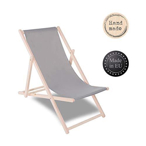 SPRINGOS Liegestuhl Sonnenliege Gartenliege klappbar Relaxsessel Klappstuhl Relaxliege Freizeitliege (Grau)