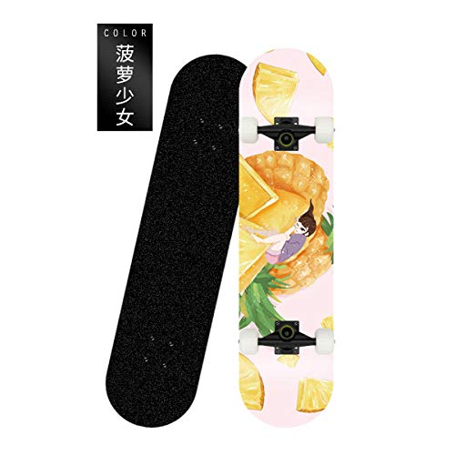 80cm Mini Cruiser Skateboard Retro Komplettbrett Hochflexibel für Kinder Jungen Jugendliche Anfänger -Ananas Mädchen