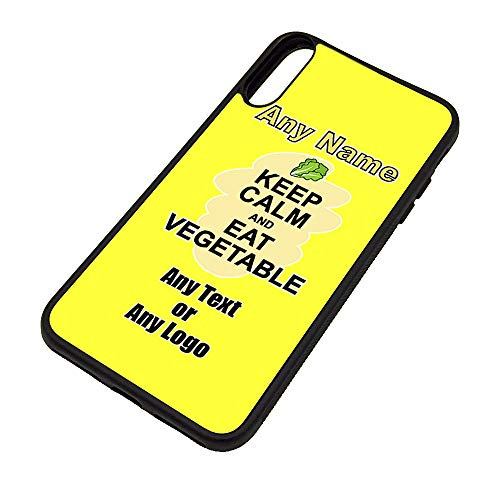 UNIGIFT - Carcasa para iPhone X/Xs, diseño con texto en inglés 'Keep Calm Eat Vegetable', diseño de comida con mensaje de cualquier nombre, funda de TPU, cartel para fiestas de dieta, aperitivos, verduras, frutas y cremas.