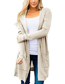 MEROKEETY Women s Long Sleeve Open Front Hoodie Knit Sweater Cardigan Outwear