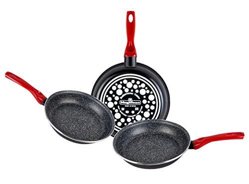 Magefesa Niger Lot de 3 poêles 20Ø24Ø26Ø en acier émaillé avec antiadhésif multi-couches effet pierre, convient pour tous les types de cuisinières, y compris induction, noir