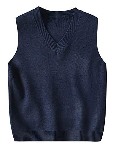 EOZY-Gilet a Maglia Bambino Unisex Ragazzi Scollo V Senza Maniche Cappotto Maglia Natale Invernale Blu Scuro Altezza 120cm