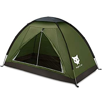 Night Cat Backpacking Tent for One 1 to 2 Persons Lightweight Waterproof Camping Hiking Tent for Adults Kids Scouts Easy Setup Single Layer 2.2x1.2m