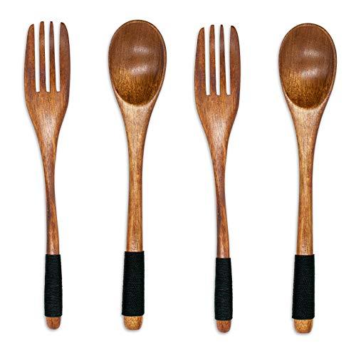 Juego de 4 cubiertos de madera natural, cubiertos de madera natural, cubiertos para ensaladas, cucharas y tenedores de madera, hechos a mano, antideslizantes, reutilizables, cubiertos