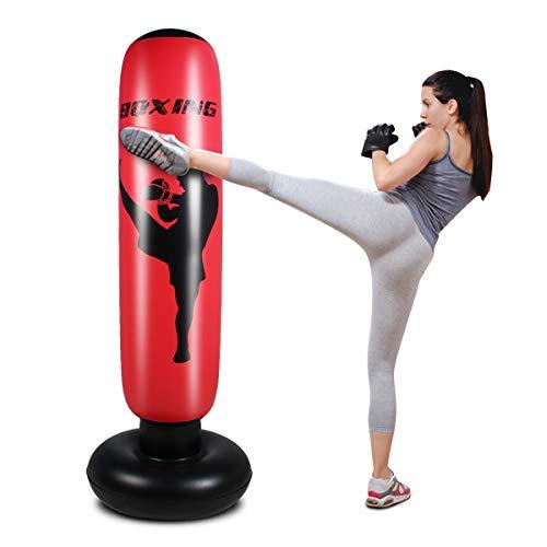 Saco de boxeo inflable para niños, bolsa de boxeo de pie para rebote inmediato de espalda pesada bolsa de boxeo para practicar karate, taekwondo, bolsa de boxeo antiestrés para niño/niña (rojo, 170)