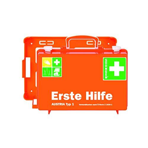 Söhngen Erste-Hilfe-Koffer Austria Typ 1 (Erste-Hilfe-Kasten, Unterteilung, Wandbefestigung, gefüllt, Wundverbände, Rettungsdecke, 20 Jahre sterile Verpackung) orange, 0390138
