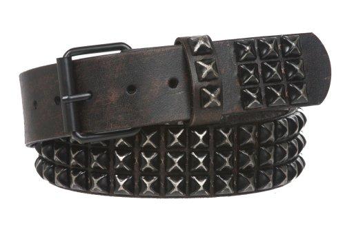 Beltiscool - Cinturón de piel para hombre con tachuelas One-color 81,28 cm (Ropa)
