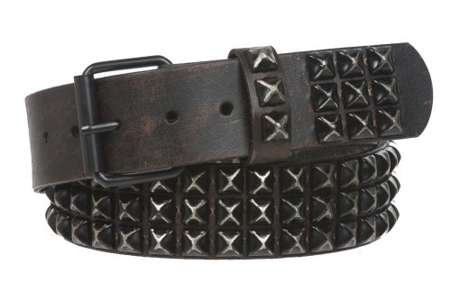 "Snap On 1 3/4"" Three Row Punk Rock Star Distressed Black Studded Leather Belt, 32"""