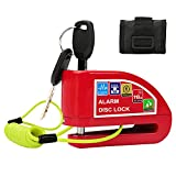 Alarm Disc Lock Motorcycle Disc Brake Lock, Waterproof 110dB Anti-Theft Disk Lock Motorcycle with 7mm Pin and 1.2M Reminder Cable for Motorcycle & Scooter Bike (Red)